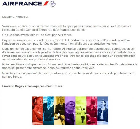Air France - Lettre aux clients
