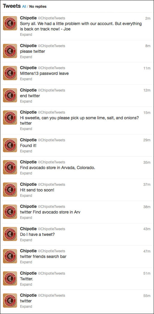 Chipotle - Timeline tweets communication