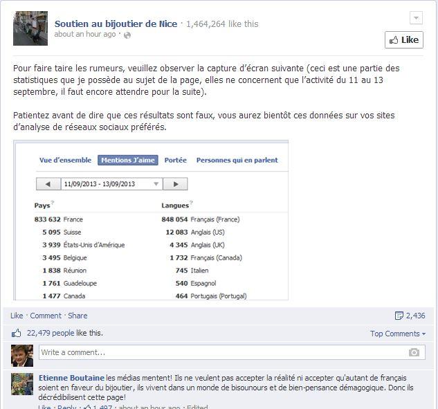 Les stats de la page Facebook au jour du 15 septembre