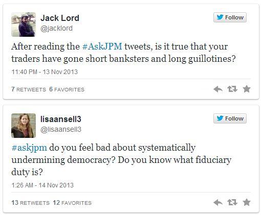 Un bref échantillon des sarcasmes reçus par JP Morgan sur Twitter