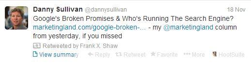 Un article négatif sur Google ? Hop, Frank Shaw retweete aussitôt !