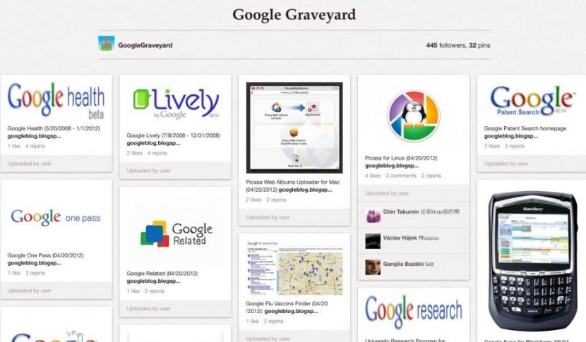 """Le tableau Pinterest composé par le dircom de Microsoft sur les produits """"tués"""" par Google"""