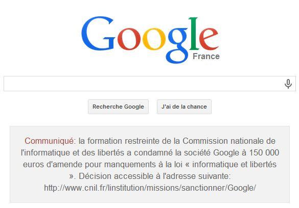 Un message destiné à figurer 48 heures sur la page d'accueil de Google.fr