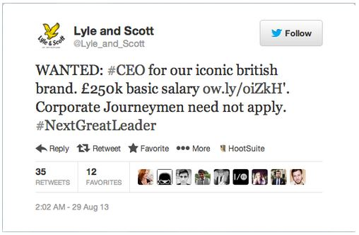 Social CEO - 1 - Annonce Lyle and scott CEO