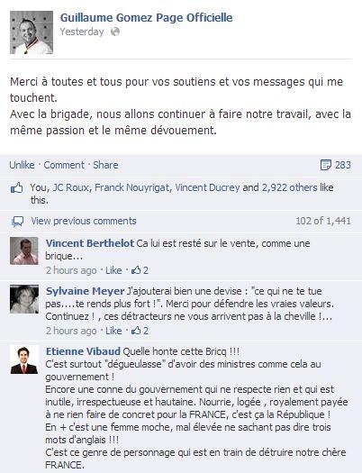 Bricq - Commentaires facebook
