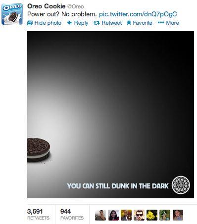 Le fameux tweet Oreo pendant le Super Bowl 2013