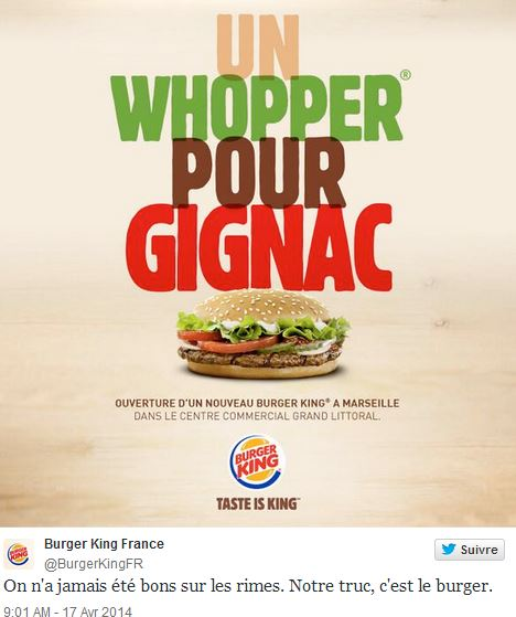 Gignac - Tweet Burger King