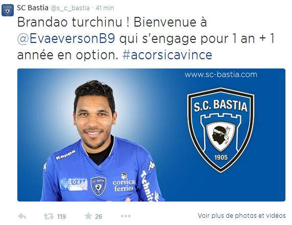 Bastia - annonce Twitter brandao