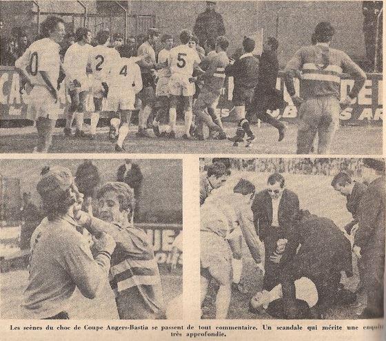 Pugilat général entre Bastia et Angers lors d'un match en 1970