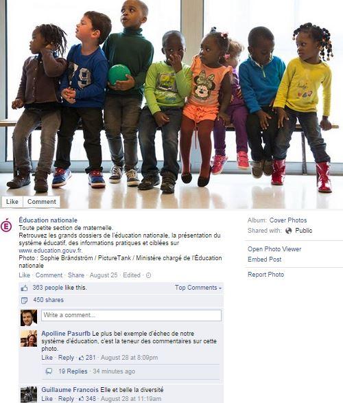 Pugilat digital autour d'une photo de la page Facebook du ministère de l'Education nationale