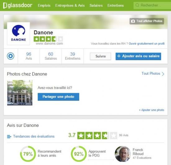 Glassdoor - fiche Danone