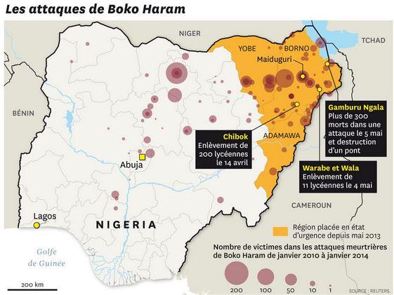 Nigeria - Carte Boko Haram