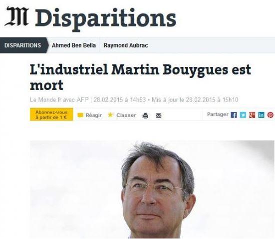 Bouygues - mort Monde
