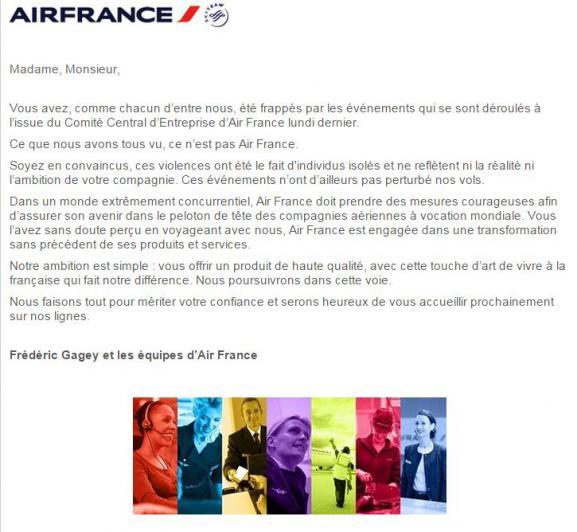 Air France - Lettre aux clients