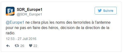 Anonymat - Tweet Europe 1